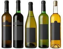 set för 5 svart flasketiketter Royaltyfria Foton