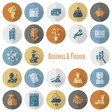 set för affärsfinanssymbol Arkivfoton