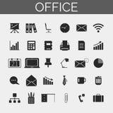 set för affärssymbolskontor Moderiktig linje symboler stock illustrationer