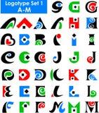 set för alfabeteps-logo Arkivfoton