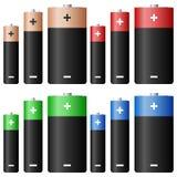 set för alkaline batteri stock illustrationer