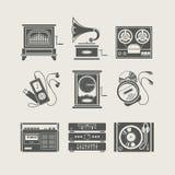 set för apparatsymbolsmusikal stock illustrationer