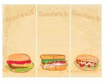 set för bakgrundsgrungehorisontalsmörgås Arkivbilder