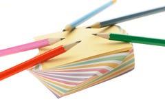 set för blyertspenna för anmärkningspapper Royaltyfria Foton