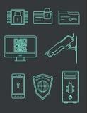 set för datorsymbolssäkerhet Datakryptering och skydd från dataintrång också vektor för coreldrawillustration royaltyfri illustrationer
