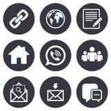 set för del för milo för kommunikationssymbolssymboler Kontakt posttecken stock illustrationer