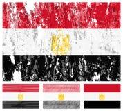 set för egypt flaggagrunge stock illustrationer