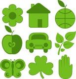 set för ekologisymboler nio stock illustrationer