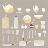 set för elementkökkitchenware stock illustrationer