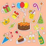 set för födelsedagelementdeltagare Fotografering för Bildbyråer