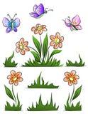set för fjärilsblommagräs royaltyfri illustrationer