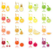 set för fruktsymbolsfruktsaft Fotografering för Bildbyråer
