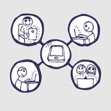 set för gemenskapsymbolsinternet Stock Illustrationer