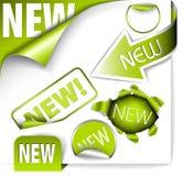 set för gröna objekt för element ny stock illustrationer