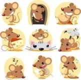 set för husdjur för mus för djursamling gullig illustration isolerad Arkivbilder