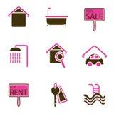 set för hussymbolsobjekt stock illustrationer