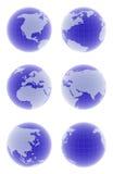 set för jordklot 3d Arkivbild