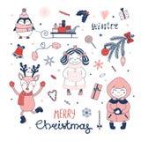 set för juldesignelement vektor illustrationer