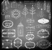set för juldesignelement Arkivbilder