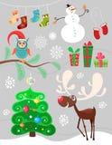 set för juldesignelement Arkivfoto