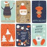 set för juldesignelement stock illustrationer