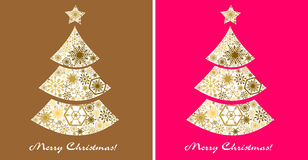 set för juldesignelement Julgran på en guld och en rosa färgbakgrund Fotografering för Bildbyråer