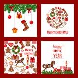 set för juldesignelement Xmas-tema i steg ombord fyrkanter med pepparkakan Arkivbilder