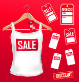 set för kläderetikettförsäljning Arkivbilder