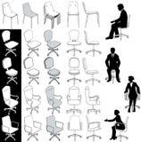 set för kontor för möblemang för affärsstolsteckningar vektor illustrationer