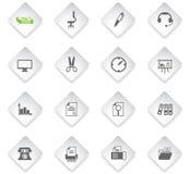 set för kontor för tillbehörmappsymbol stock illustrationer