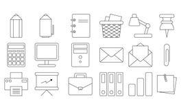 set för kontor för tillbehörmappsymbol Tunn linje redigerbar design brevpapper Vektoröversiktssymboler isolerat Vit bakgrund vektor illustrationer