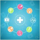 set för läkarundersökning för designsymbolsbild Arkivfoto