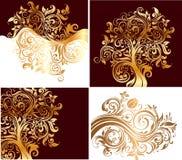 set för lövverk för affärskort royaltyfri illustrationer