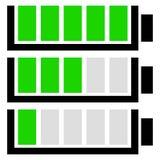 Set för level indikator för batteri Plana batterisymboler Royaltyfri Bild