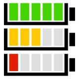 Set för level indikator för batteri Plana batterisymboler Royaltyfri Fotografi