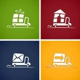 set för leveranssymbolsservice stock illustrationer