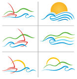 Set för logo för fartygvattensolnedgång royaltyfri illustrationer