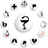 set för medicin för 92 b-knappar stock illustrationer