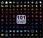 set för mulstimedia för 101 allmän symbolsinternet Arkivbilder