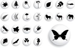 set för natur för 5 knappar för b stor Arkivfoto