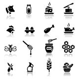set för naturliga produkter för mejerisymboler Royaltyfria Bilder