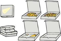 set för pizza ii stock illustrationer