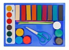 set för plasticine för målarfärg för aquarelleask idérik Royaltyfri Foto