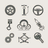 set för reparation för bilsymbolsdel Arkivbilder