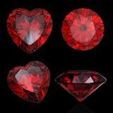 set för ruby för granatrötthjärta formad röd royaltyfri illustrationer