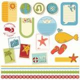 Set för sommarferiescrapbook vektor illustrationer