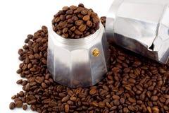 set för tillverkare för bönakaffeespresso Arkivbilder