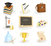 set för utbildningssymbolsskola vektor illustrationer