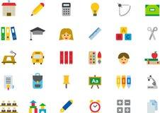 set för utbildningssymbolsskola Arkivbild