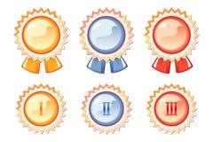 set för utmärkelsefärgetiketter tre Arkivfoton